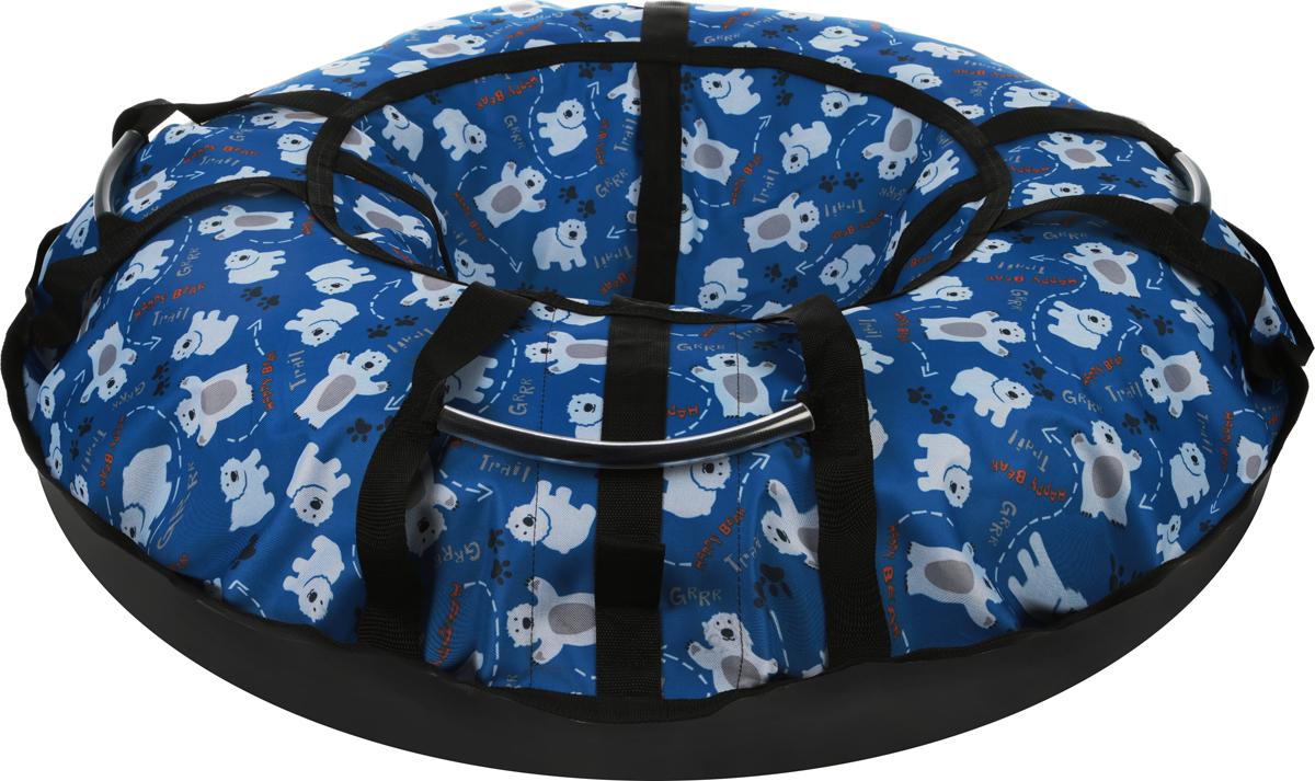 Тюбинг Hubster  Люкс Pro. Мишки , цвет: синий, диаметр 120 см - Катаемся с горки