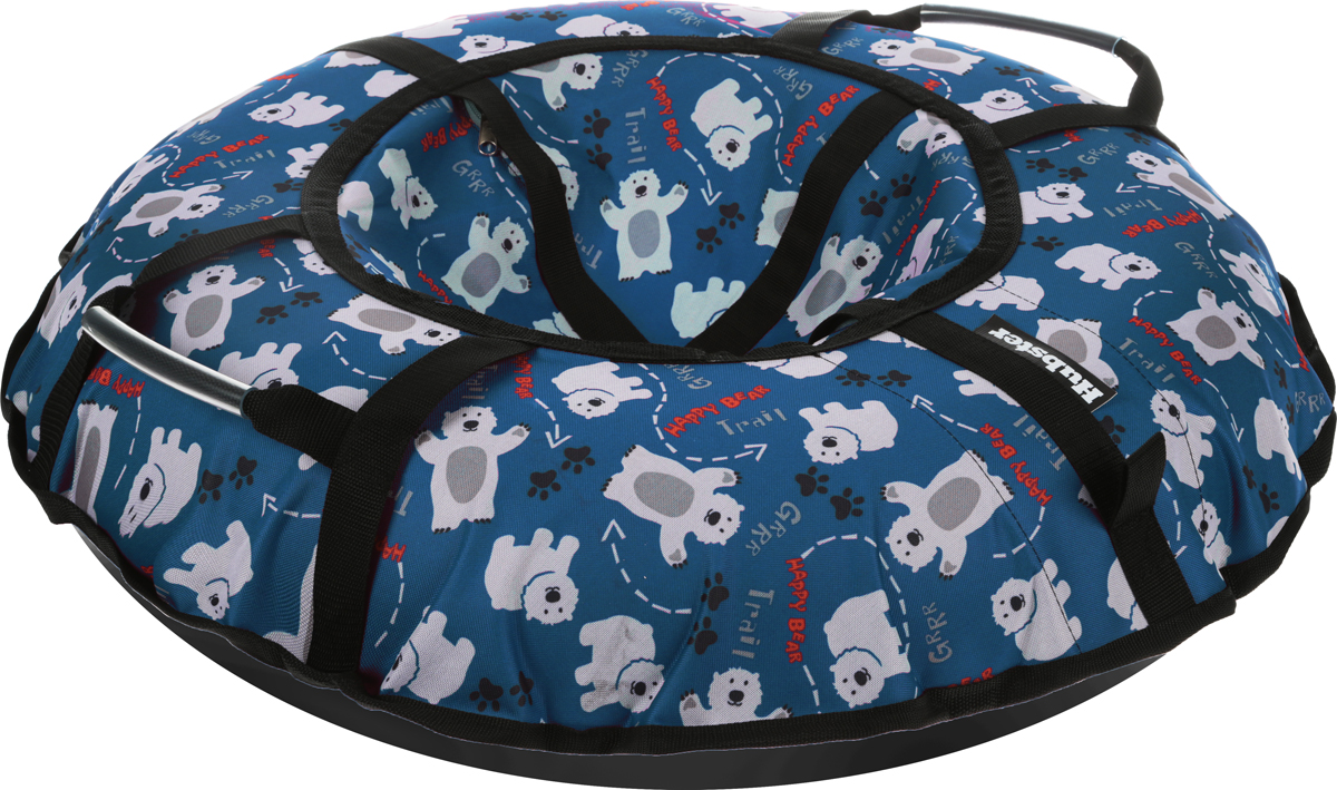 Тюбинг Hubster Люкс Pro. Мишки, цвет: синий, диаметр 90 смво4341-1Любимая детская зимняя забава - это кататься с горки. А катание на тюбинге надолго запомнится вам и вашим близким. Свежий воздух, веселая компания, веселые развлечения - эти моменты вы будете вспоминать еще долгое время. Материал верха - усиленная ткань Оксфорд600D с пропиткой 600 г/м. Материал дна - ПВХ (усиленная скользкая ткань), плотность 650 г/м.Диаметр в сдутом виде - 90 см.Диаметр в надутом виде - 79см.Ручки усиленные (нашиты на дополнительную стропу).Кол-во ручек - 2 шт. Молния скрытая, на сиденье.Крепление троса - наружная петля.Длина троса - 1 метр.Нагрузка - до 80 кг.Тюбинг не предназначен для буксировки механическими или транспортными средствами (подъемники, канатные дороги, лебедки, автомобиль, снегоход, квадроцикл и т.д.).