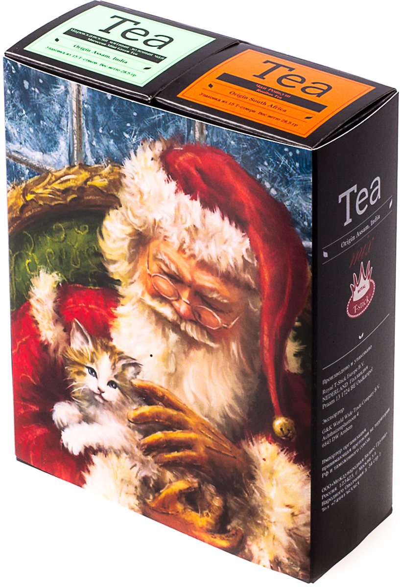 Подарочный набор Royal T-Stick: Rooibos Tea красный чай и и Mint Green Tea зеленый чай, в стиках, 30 шт. 2018117020181170Подарочный набор из двух пачек чая премиум класса,упакован в коробку для транспортировки. Натуральный зеленый чай с ароматом мяты порадует вас своим тонким и нежным вкусом. Ройбош натуральный чай из листьев южноафриканского кустарника. Обладает сладковатым вкусом, с едва уловимыми ореховыми нотами. Чай обладает тонизирующим и бодрящим свойством. Снижает аппетит. Рекомендуется людям контролирующим свою массу тела. Чай упакован в пищевую фольгу, которую можно использовать вместо ложечки для размешивания сахара. Опустите стик в кипяток, оставьте на 3 минуты, размешайте кусочек сахара. Достаньте стик из стакана, потрясите им о край стакана, так, чтобы стекли последние капли, и положите рядом. Вся влага останется внутри стика. Прекрасный подарок родным и близким,и отличный повод удивить коллег по работе и друзей, внедряя новую, элегантную культуру чаепития!