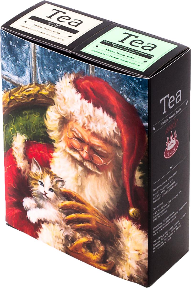 Подарочный набор Royal T-Stick: Mint Green Tea зеленый чай и Earl Grey черный чай, в стиках, 30 шт. 2018116920181169Подарочный набор из двух пачек чая премиум класса,упакован в коробку для транспортировки. Натуральный зеленый чай с ароматом мяты порадует вас своим тонким и нежным вкусом. Способствует расщеплению жиров и успокаивает нервную систему. Чай Ассам с бергамотом порадует вас насыщенным ,янтарно -красным цветом, терпким ароматом бергамота и пряным, солодово-медовым вкусом . Чай обладает тонизирующим свойством. Чай упакован в пищевую фольгу, которую можно использовать вместо ложечки для размешивания сахара. Опустите стик в кипяток, оставьте на 3 минуты, размешайте кусочек сахара. Достаньте стик из стакана, потрясите им о край стакана, так, чтобы стекли последние капли, и положите рядом. Вся влага останется внутри стика. Прекрасный подарок родным и близким,и отличный повод удивить коллег по работе и друзей, внедряя новую, элегантную культуру чаепития!Всё о чае: сорта, факты, советы по выбору и употреблению. Статья OZON Гид