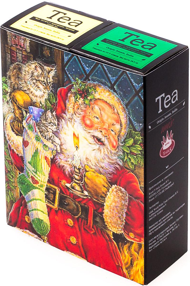Подарочный набор Royal T-Stick: Green Tea with a Hint of Natural Lemon зеленый чай и Lemon Tea черный чай, в стиках, 30 шт. 20181144 mama lemon green tea 600