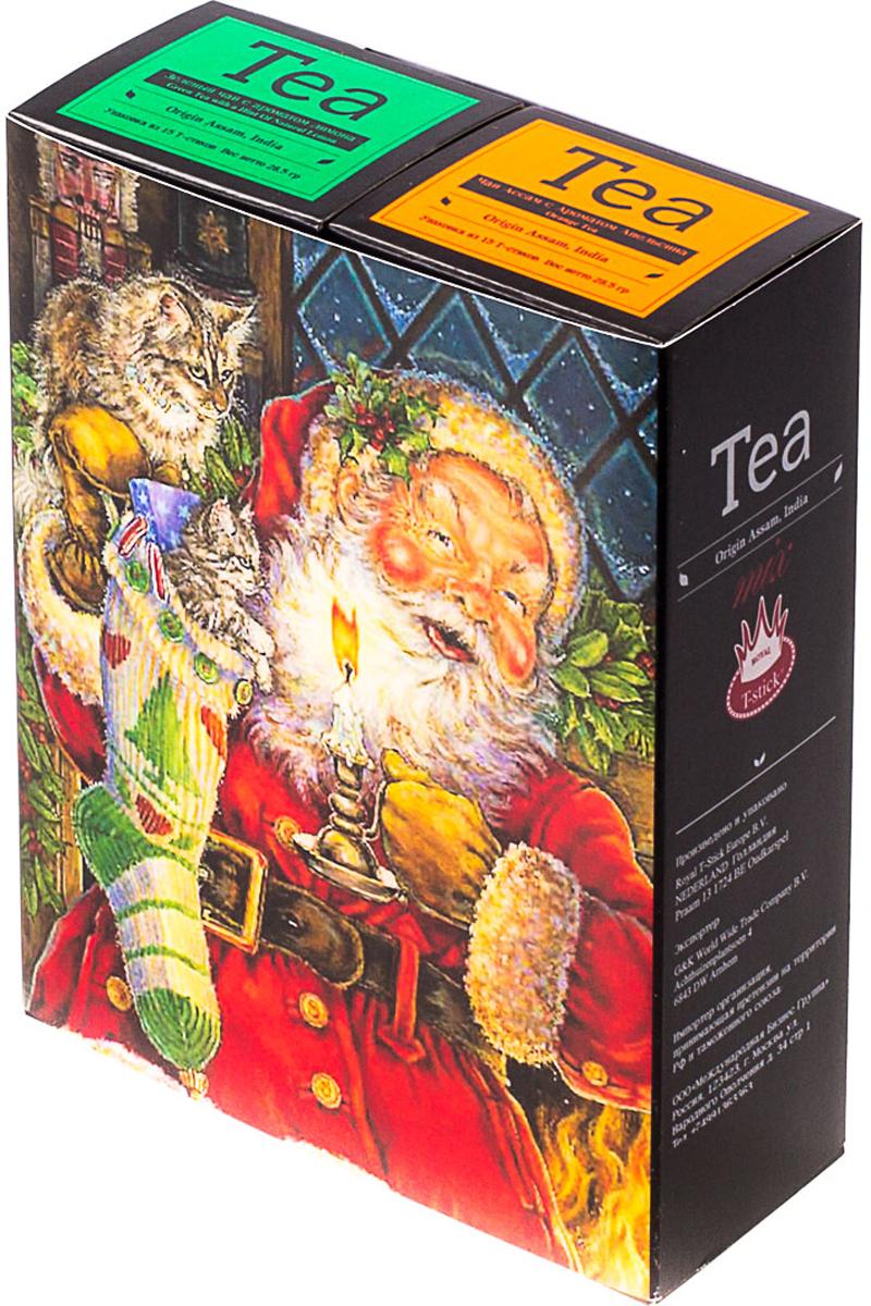 Подарочный набор Royal T-Stick: Green Tea зеленый чай и Orange Tea черный чай, в стиках, 30 шт. 2018114320181143Подарочный набор из двух пачек чая премиум класса упакован в коробку для транспортировки. Зеленый чай с ароматом лимона порадует вас своим золотистым цветом, нежным ароматом лимона и освежающим послевкусием. Обогащение зеленого чая ароматом лимона усиливает полезные свойства природных антиоксидантов. Натуральный черный чай с ароматом апельсина порадует вас золотисто-медовым цветом, тонким ароматом персика и изысканным пряным вкусом, который создается путем смешивания реальных кусочков апельсина и индийского чая из штата Ассам. Чай упакован в пищевую фольгу, которую можно использовать вместо ложечки для размешивания сахара. Опустите стик в кипяток, оставьте на 3 минуты, размешайте кусочек сахара. Достаньте стик из стакана, потрясите им о край стакана, так, чтобы стекли последние капли, и положите рядом. Вся влага останется внутри стика. Прекрасный подарок родным и близким,и отличный повод удивить коллег по работе и друзей, внедряя новую, элегантную культуру чаепития!Всё о чае: сорта, факты, советы по выбору и употреблению. Статья OZON Гид