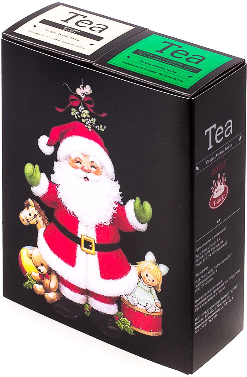 Подарочный набор Royal T-Stick: Green Tea зеленый чай и Earl Grey черный чай, в стиках, 30 шт. 2018114120181141Подарочный набор из двух пачек чая премиум класса,упакован в коробку для транспортировки. Зеленый чай с ароматом лимона порадует Вас своим золотистым цветом ,нежным ароматом лимона и освежающим послевкусием. Обогащение зеленого чая ароматом лимона усиливает полезные свойства природных антиоксидантов. Чай Ассам с бергамотом порадует вас насыщенным ,янтарно -красным цветом, терпким ароматом бергамота и пряным, солодово-медовым вкусом . Чай обладает тонизирующим свойством. Чай упакован в пищевую фольгу, которую можно использовать вместо ложечки для размешивания сахара. Опустите стик в кипяток, оставьте на 3 минуты, размешайте кусочек сахара. Достаньте стик из стакана, потрясите им о край стакана, так, чтобы стекли последние капли, и положите рядом. Вся влага останется внутри стика. Прекрасный подарок родным и близким,и отличный повод удивить коллег по работе и друзей, внедряя новую, элегантную культуру чаепития!
