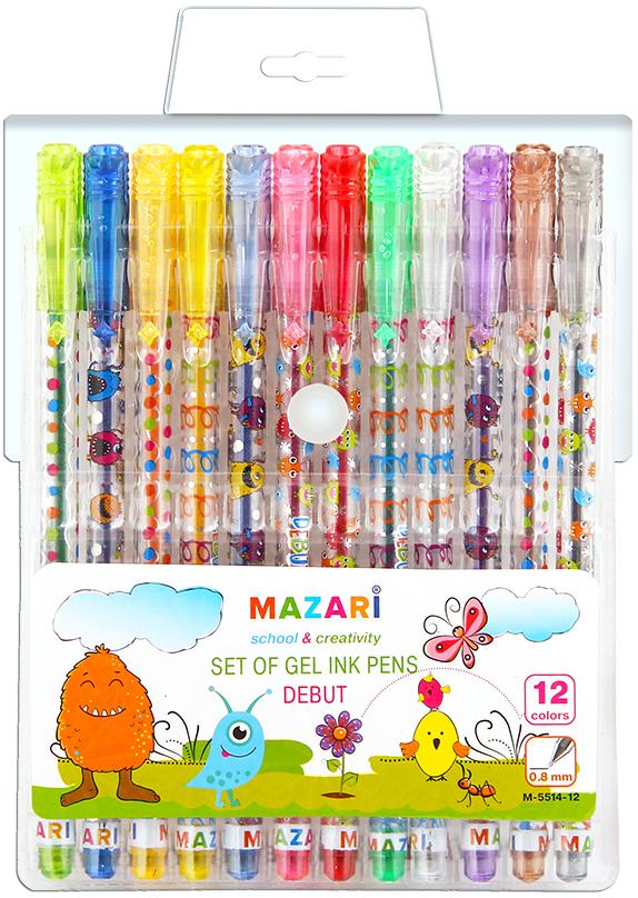 Mazari Набор гелевых ручек Debut 12 цветов mazari набор гелевых ручек orion 4 цвета