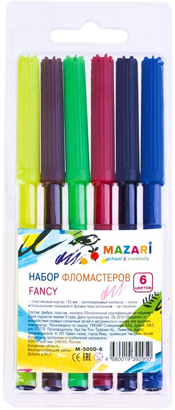 Mazari Набор фломастеров Fancy 6 цветовМ-5050- 6Фломастеры Fancy, 6 цветов, вентилируемый колпачок, ПВХ-упаковка с европодвесом