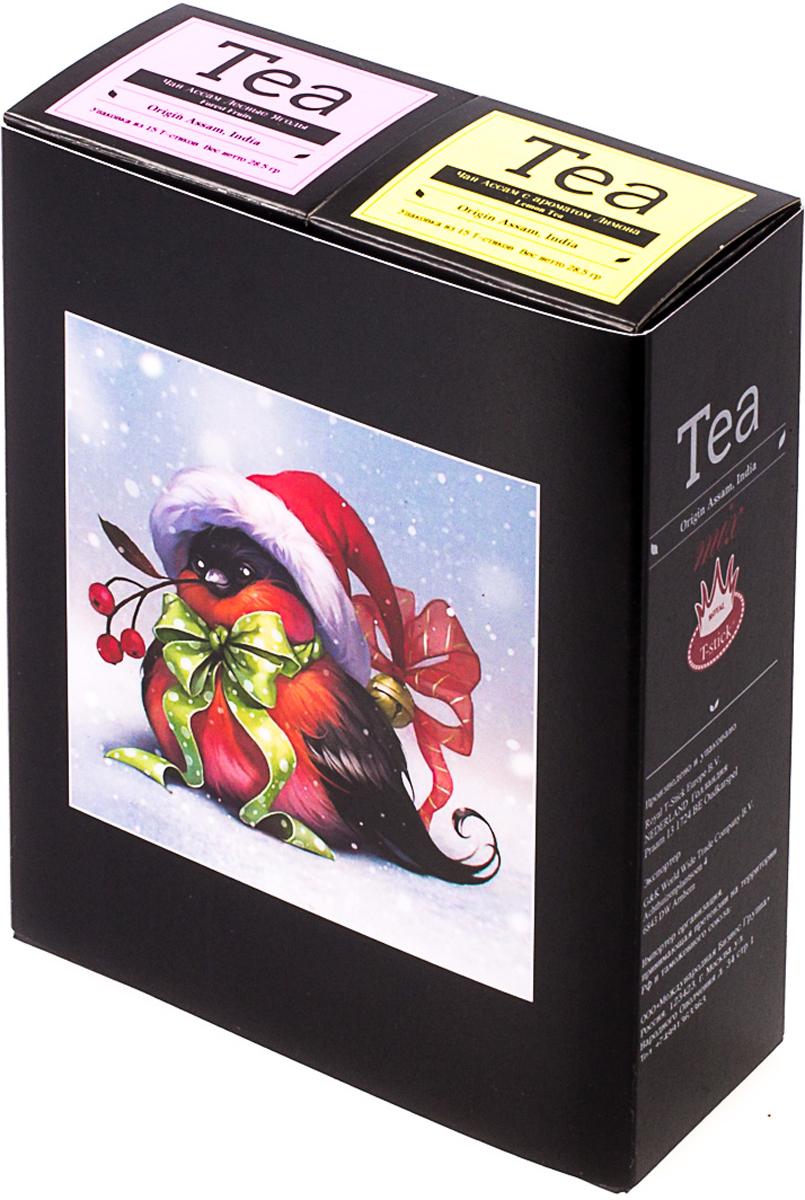 Подарочный набор Royal T-Stick: Forest Fruits Tea черный чай и Lemon Tea черный чай, в стиках, 30 шт. 2018113720181137Подарочный набор из двух пачек чая премиум класса,упакован в коробку для транспортировки. Чай Асам с ароматом лесных ягод порадует Вас своим сладким фруктовым вкусом и ароматом лесных ягод и фруктов. Натуральный черный чай с ароматом лимона порадует вас золотисто-медовым цветом, тонким ароматом лимона, который создается путем смешивания реального лимона и индийского чая из штата Ассам. Чай упакован в пищевую фольгу, которую можно использовать вместо ложечки для размешивания сахара. Опустите стик в кипяток, оставьте на 3 минуты, размешайте кусочек сахара. Достаньте стик из стакана, потрясите им о край стакана, так, чтобы стекли последние капли, и положите рядом. Вся влага останется внутри стика. Прекрасный подарок родным и близким,и отличный повод удивить коллег по работе и друзей, внедряя новую, элегантную культуру чаепития!Всё о чае: сорта, факты, советы по выбору и употреблению. Статья OZON Гид