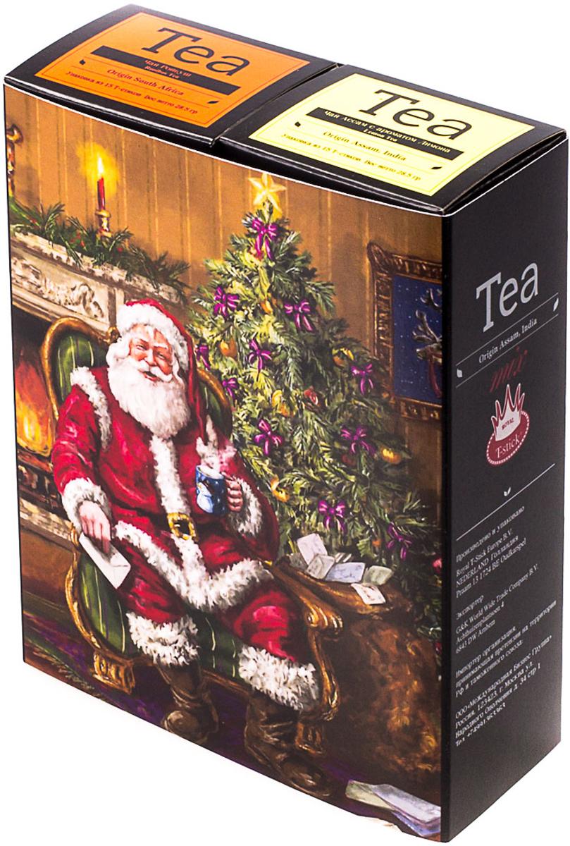 Подарочный набор Royal T-Stick: Rooibos Tea красный чай и Lemon Tea черный чай, в стиках, 30 шт. 2018113420181134Подарочный набор из двух пачек чая премиум класса,упакован в коробку для транспортировки. Ройбош натуральный чай из листьев южноафриканского кустарника. Обладает сладковатым вкусом, с едва уловимыми ореховыми нотами. Чай обладает тонизирующим и бодрящим свойством. Снижает аппетит. Рекомендуется людям контролирующим свою массу тела. Натуральный черный чай с ароматом лимона порадует вас золотисто-медовым цветом, тонким ароматом лимона, который создается путем смешивания реального лимона и индийского чая из штата Ассам. Чай упакован в пищевую фольгу, которую можно использовать вместо ложечки для размешивания сахара. Опустите стик в кипяток, оставьте на 3 минуты, размешайте кусочек сахара. Достаньте стик из стакана, потрясите им о край стакана, так, чтобы стекли последние капли, и положите рядом. Вся влага останется внутри стика. Прекрасный подарок родным и близким,и отличный повод удивить коллег по работе и друзей, внедряя новую, элегантную культуру чаепития!Всё о чае: сорта, факты, советы по выбору и употреблению. Статья OZON Гид