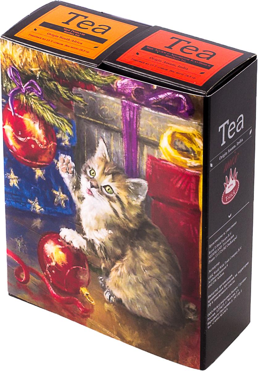 Подарочный набор Royal T-Stick: Rooibos Tea красный чай и Strawberry Tea черный чай, в стиках, 30 шт. 2018113320181133Подарочный набор из двух пачек чая премиум класса,упакован в коробку для транспортировки. Ройбош натуральный чай из листьев южноафриканского кустарника. Обладает сладковатым вкусом, с едва уловимыми ореховыми нотами. Чай обладает тонизирующим и бодрящим свойством. Снижает аппетит. Рекомендуется людям контролирующим свою массу тела. Натуральный черный чай с ароматом клубники порадует вас золотисто-медовым цветом, тонким ароматом клубники, который создается путем смешивания реальных кусочков клубники и индийского чая из штата Ассам. Чай упакован в пищевую фольгу, которую можно использовать вместо ложечки для размешивания сахара. Опустите стик в кипяток, оставьте на 3 минуты, размешайте кусочек сахара. Достаньте стик из стакана, потрясите им о край стакана, так, чтобы стекли последние капли, и положите рядом. Вся влага останется внутри стика. Прекрасный подарок родным и близким,и отличный повод удивить коллег по работе и друзей, внедряя новую, элегантную культуру чаепития!Всё о чае: сорта, факты, советы по выбору и употреблению. Статья OZON Гид