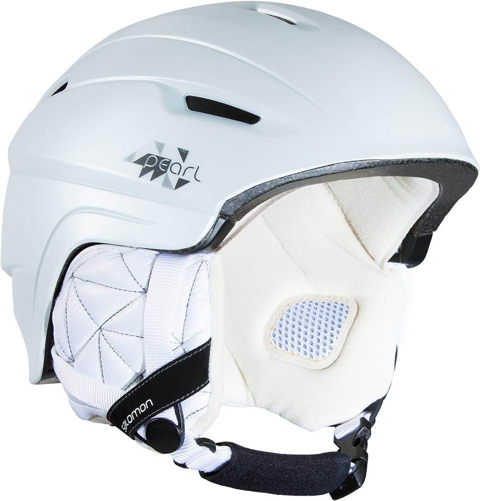 Шлем Salomon Pearl 4D, цвет: белый. Размер М (56/59 см)L37775300Компактный и легкий женский шлем. Новая конструкция внутренника EPS 4D, которая эффективно поглощает удары. Простая регулировка размера поворотным кольцом. Вентиляционные каналы, расположенные в стратегически важных зонах, делают воздушный поток и вывод тепла максимальным при любых условиях. Особенности: съемные уши, совместимость с аудиосистемами.