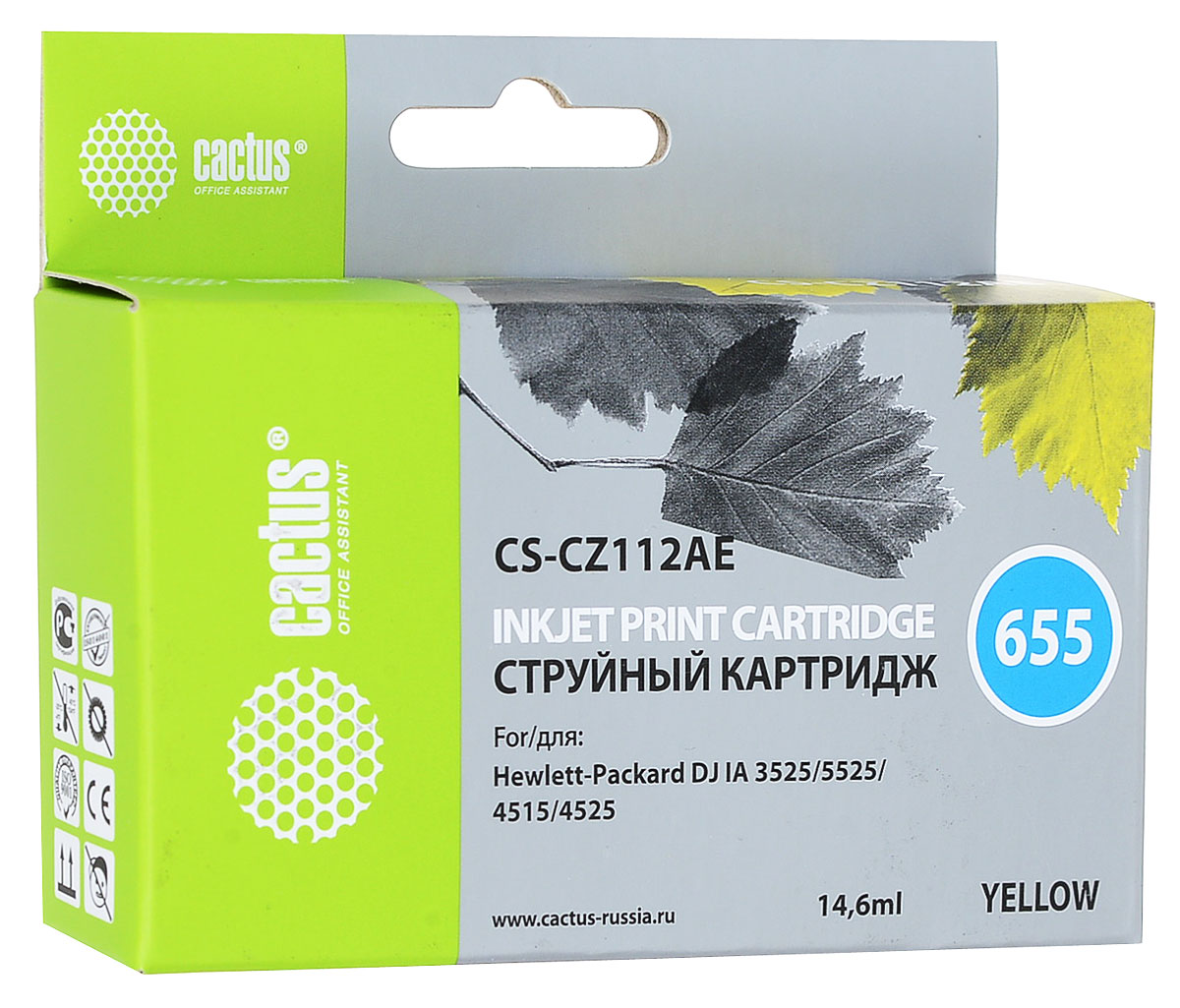 Cactus CS-CZ112AE, Yellow струйный картридж для принтеров HP DJ IA 3525/5525/4515/4525CS-CZ112AEКартридж Cactus CS-CZ112AE для струйных принтеров HP.Расходные материалы Cactus для печати максимизируют характеристики принтера. Обеспечивают повышенную четкость изображения и плавность переходов оттенков и полутонов, позволяют отображать мельчайшие детали изображения. Обеспечивают надежное качество печати.Уважаемые клиенты! Обращаем ваше внимание на то, что упаковка может иметь несколько видов дизайна. Поставка осуществляется в зависимости от наличия на складе.