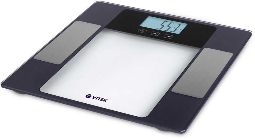 Vitek VT-1987(VT), Gray Metallic напольные весыVT-1987(VT)Напольные весы Vitek VT-1987(VT) - простой и комфортный способ следить за изменениями веса.Хотите знать, подействовала ли диета? Эффективно ли набирает вес растущий ребенок? Получите ответ всего за пару секунд, воспользовавшись весами Vitek VT-1987(VT).Платформа из закаленного стекла выдерживает нагрузку до 180 кг, а высокая точность измерения гарантирует верный результат.Единицы измерения кг/фт/ст.Размер дисплея - 76 х 40 мм.Весы работают от 2 батареек типа CR2032 .