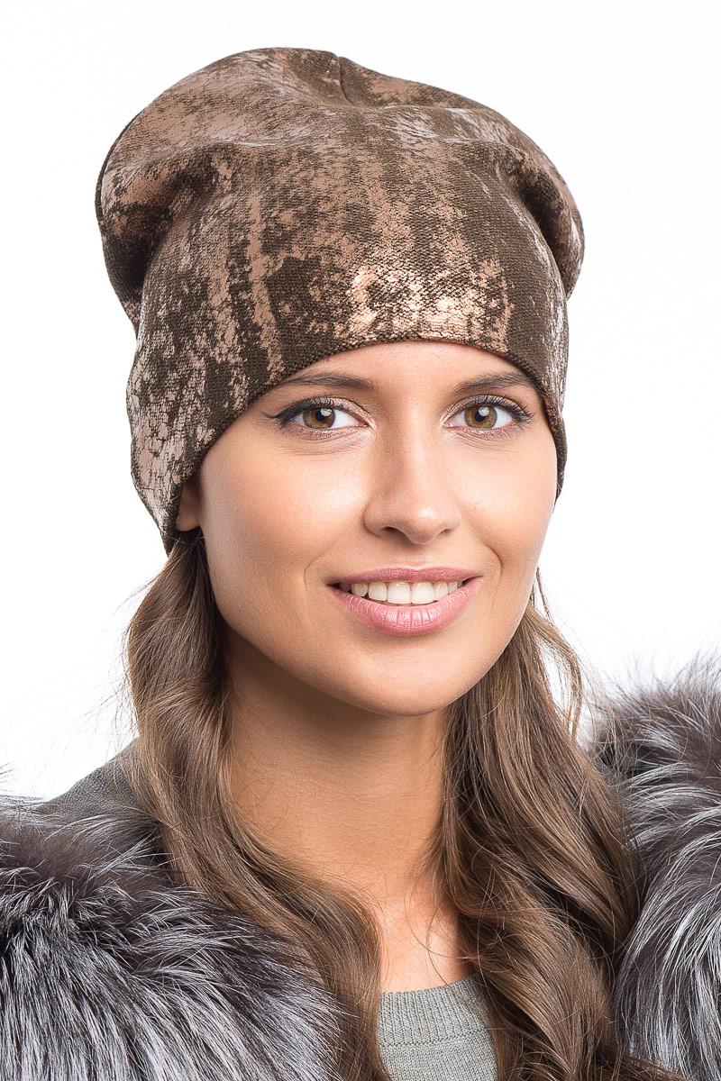 Шапка женская Stilla, цвет: коричневый. SH-1777/02. Размер 52/56SH-1777/02Элегантная женская шапка от Stilla выполнена из шерсти и акрила.Мелкая плотная вязка.Трикотажная подкладка.