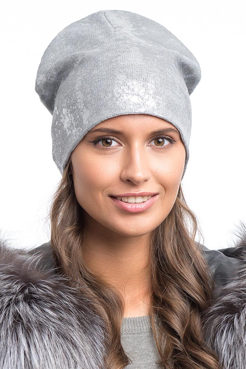 Шапка женская Stilla, цвет: серый. SH-1777/06. Размер 52/56SH-1777/06Элегантная женская шапка от Stilla выполнена из шерсти и акрила.Мелкая плотная вязка.Трикотажная подкладка.