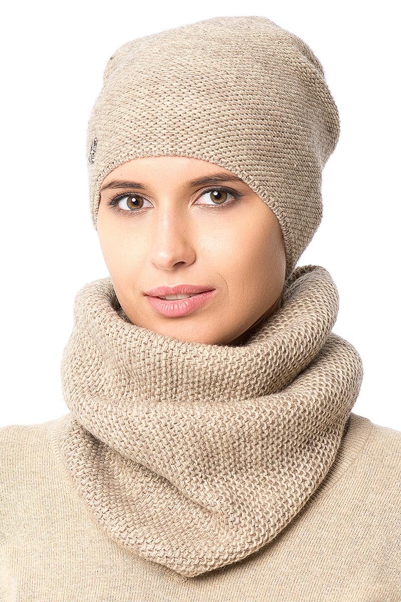 Шапка женская Nuages, цвет: бежевый. NH-721/04. Размер 52/56NH-721/04Женская вязаная шапка от Nuages выполнена из хлопково-акриловой пряжи. Такая шапка согреет вас в холодное время года и станет отличным дополнением к любому вашему образу.