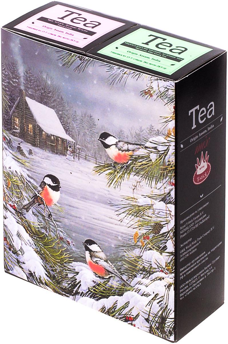 Подарочный набор Royal T-Stick: Mint Green Tea зеленый чай и Forest Fruits Tea черный чай, в стиках, 30 шт. 2018112320181123Подарочный набор из двух пачек чая премиум класса,упакован в коробку для транспортировки. Натуральный зеленый чай с ароматом мяты порадует вас своим тонким и нежным вкусом. Способствует расщеплению жиров и успокаивает нервную систему. Чай Асам с ароматом лесных ягод порадует Вас своим сладким фруктовым вкусом и ароматом лесных ягод и фруктов. Богат антиоксидантами, способствующих нейтрализации токсинов в нашем организме. Чай упакован в пищевую фольгу, которую можно использовать вместо ложечки для размешивания сахара. Опустите стик в кипяток, оставьте на 3 минуты, размешайте кусочек сахара. Достаньте стик из стакана, потрясите им о край стакана, так, чтобы стекли последние капли, и положите рядом. Вся влага останется внутри стика. Прекрасный подарок родным и близким,и отличный повод удивить коллег по работе и друзей, внедряя новую, элегантную культуру чаепития!