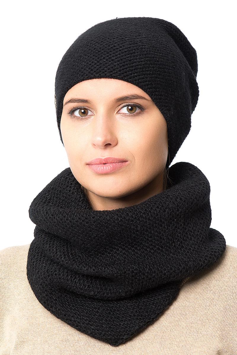 Шапка женская Nuages, цвет: черный. NH-721/08. Размер 52/56NH-721/08Женская вязаная шапка от Nuages выполнена из хлопково-акриловой пряжи. Такая шапка согреет вас в холодное время года и станет отличным дополнением к любому вашему образу.