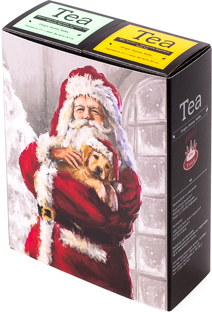 Подарочный набор Royal T-Stick: Mint Green Tea зеленый чай и Peach Tea черный чай, в стиках, 30 шт. 2018112120181121Подарочный набор из двух пачек чая премиум класса,упакован в коробку для транспортировки. Натуральный зеленый чай с ароматом мяты порадует вас своим тонким и нежным вкусом. Способствует расщеплению жиров и успокаивает нервную систему. Натуральный черный чай с ароматом персика порадует вас золотисто-медовым цветом, тонким ароматом персика и изысканным вкусом , который создается путем смешивания реальных кусочков персика и индийского чая из штата Ассам. Чай упакован в пищевую фольгу, которую можно использовать вместо ложечки для размешивания сахара. Опустите стик в кипяток, оставьте на 3 минуты, размешайте кусочек сахара. Достаньте стик из стакана, потрясите им о край стакана, так, чтобы стекли последние капли, и положите рядом. Вся влага останется внутри стика. Прекрасный подарок родным и близким,и отличный повод удивить коллег по работе и друзей, внедряя новую, элегантную культуру чаепития!Всё о чае: сорта, факты, советы по выбору и употреблению. Статья OZON Гид