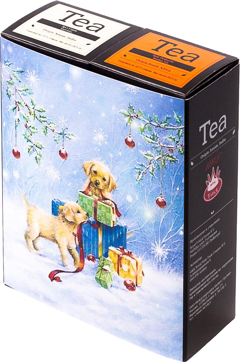 Подарочный набор Royal T-Stick: Earl Grey черный чай и Rooibos Tea красный чай, в стиках, 30 шт. 20181014 greenfield royal earl grey черный листовой чай 250 г