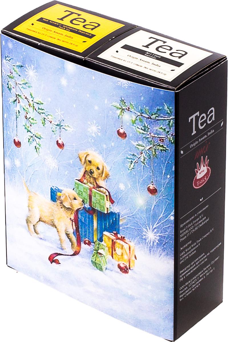 Подарочный набор Royal T-Stick: Earl Grey черный чай и Peach Tea черный чай, в стиках, 30 шт. 20181013 greenfield royal earl grey черный листовой чай 250 г