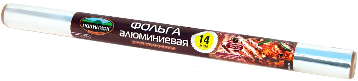 Фольга Пикничок, 44 см х 10 м209-085Фольга Пикничок плотностью 14 мкр, предназначена для приготовления блюд на гриле или на открытом огне. Препятствует подгоранию и сохраняет витамины и микроэлементы, а также вкус и аромат приготволенных блюд.