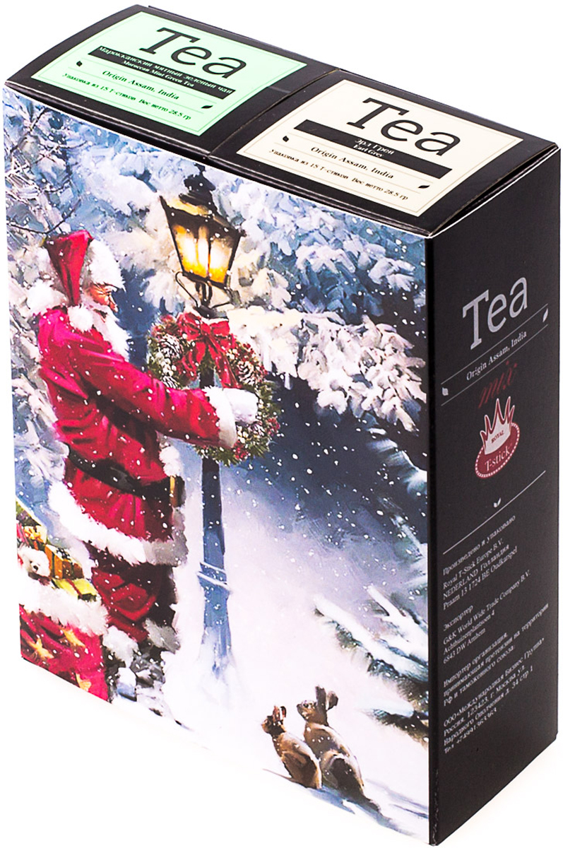 Подарочный набор Royal T-Stick: Earl Grey черный чай и Mint Green Tea зеленый чай, в стиках, 30 шт. 20181011 greenfield royal earl grey черный листовой чай 250 г