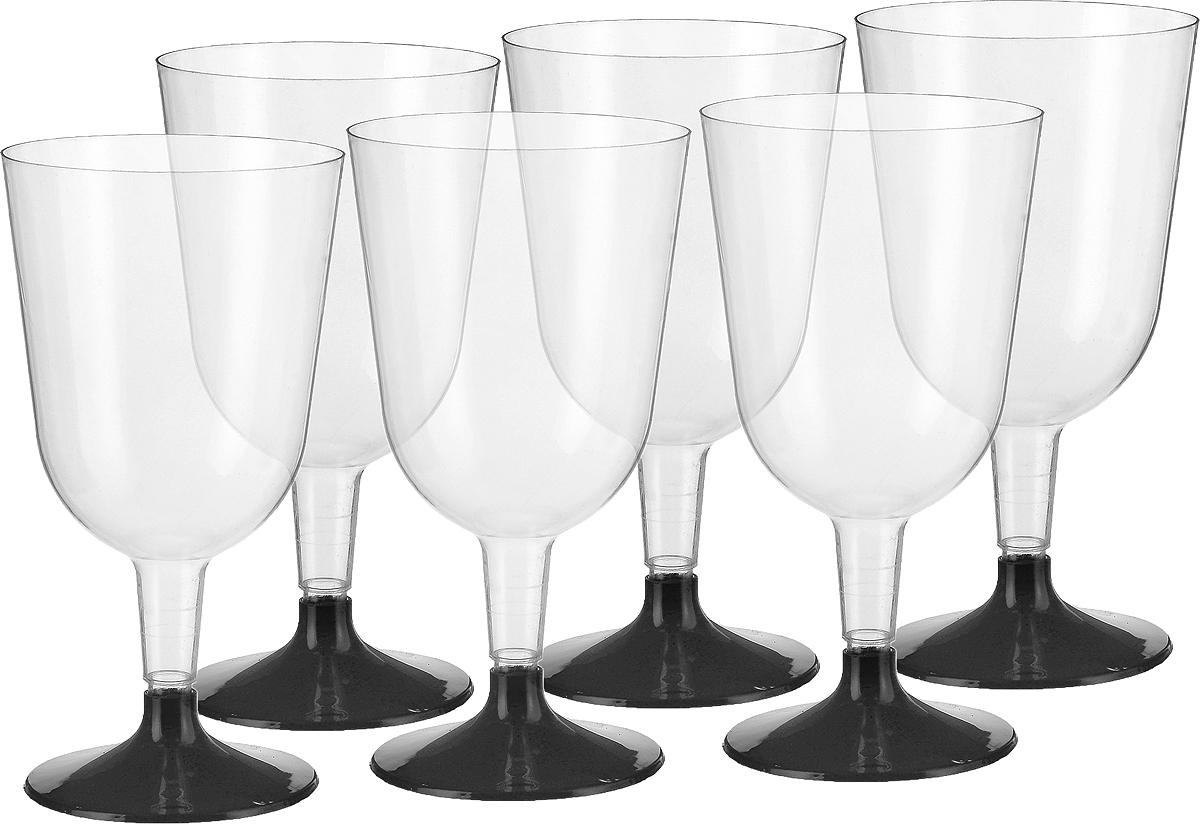 Набор бокалов для вина Buffet, цвет: прозрачный, черный, 200 мл, 6 шт набор креманок buffet цвет прозрачный черный 200 мл 6 шт