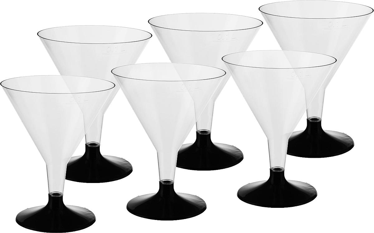 Набр бокалов для мартини Buffet, цвет: прозрачный, черный, 100 мл, 6 шт набор креманок buffet цвет прозрачный черный 200 мл 6 шт