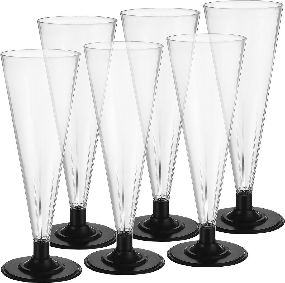 Фужер Мистерия, цвет: прозрачный, черный, 180 мл, 6 шт182150/Фужер Buffet выполнен из полистирола. Предназаначен для холодных и горячих (до +70С) напитков. В комплекте 6 шт.