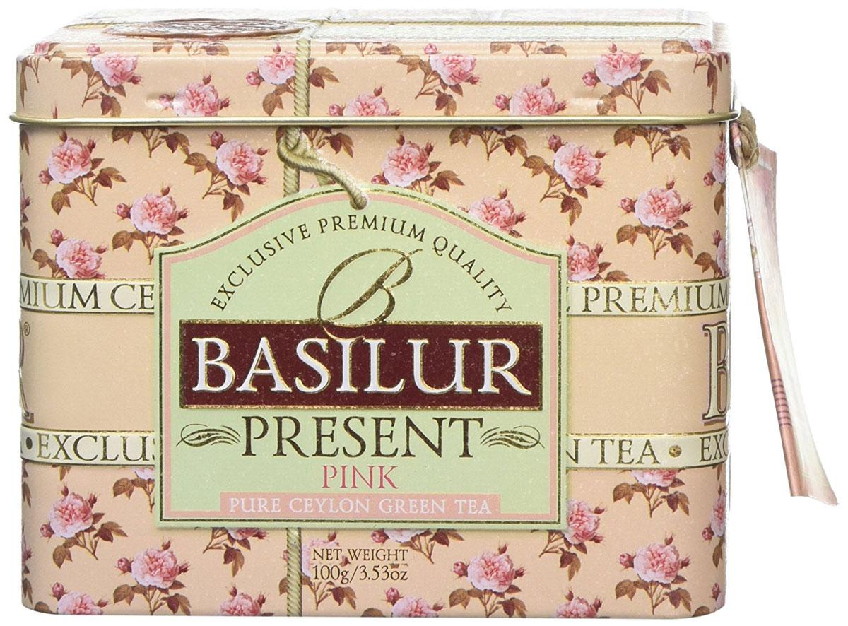Basilur Розовый подарок зеленый листовой чай с плодами фруктов, 100 г