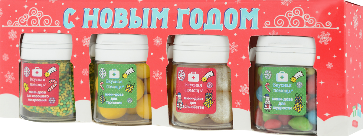 Набор Вкусная помощь С Новым годом, 4 х 50 мл, красный, зеленый pediasure смесь со вкусом ванили с 12 месяцев 200 мл