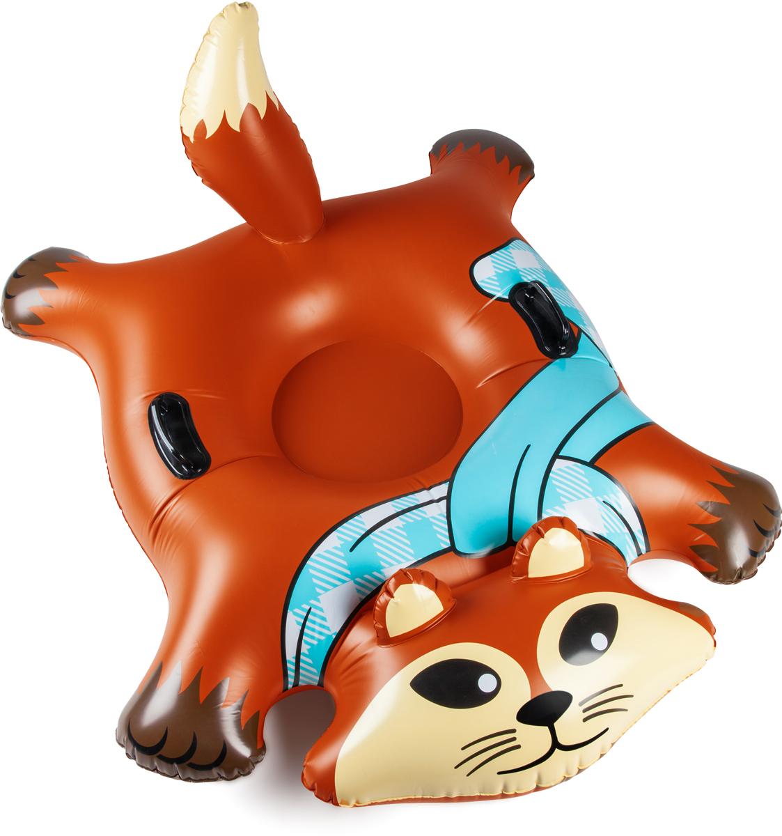 Тюбинг надувной BigMouth Flying Fox, цвет: мультиколор, диаметр 100 смBMST-0009Виниловый тюбинг в форме лисы для зимнего катания с горки.Тюбинг имеет яркую расцветку и оригинальный дизайн. Изделие выполнено из высокопрочного винила soft touch, что делает его не только долговечным, но и комфортным в использовании. Усиленная проклейка швов и крепление деталей не позволит тюбингу порваться даже при использовании на сильно обледеневших поверхностях. Для удобства катания модель дополнена специальными ручками.Яркий и стильный тюбинг выделит своего владельца среди всех отдыхающих на склоне. Нестандартный дизайн добавит удовольствия катанию и не позволит потерять свой транспорт в суматохе после спуска. Тюбинг станет идеальным подарком как для ребенка, так и для взрослого. С таким ярким спутником зимние дни пролетят весело и беззаботно.
