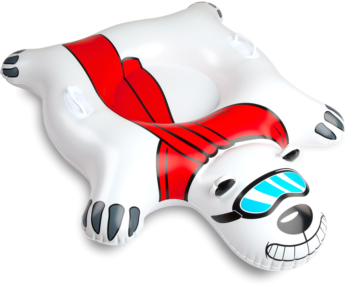 Тюбинг надувной BigMouth Polar Bear, цвет: мультиколор, диаметр 100 смBMSTPBВиниловый тюбинг в форме белого медведя для зимнего катания с горки. Тюбинг имеет яркую расцветку и оригинальный дизайн. Изделие выполнено из высокопрочного винила soft touch, что делает его не только долговечным, но и комфортным в использовании. Усиленная проклейка швов и крепление деталей не позволит тюбингу порваться даже при использовании на сильно обледеневших поверхностях. Для удобства катания модель дополнена специальными ручками. Яркий и стильный тюбинг выделит своего владельца среди всех отдыхающих на склоне. Нестандартный дизайн добавит удовольствия катанию и не позволит потерять свой транспорт в суматохе после спуска. Тюбинг станет идеальным подарком как для ребенка, так и для взрослого. С таким ярким спутником зимние дни пролетят весело и беззаботно.Зимние игры на свежем воздухе. Статья OZON Гид