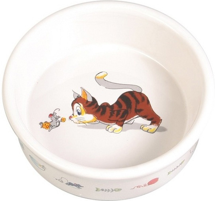 Миска Trixie Веселая кошка, 200 мл4007Миска для кошек с интересным рисунком выполнена из керамики.