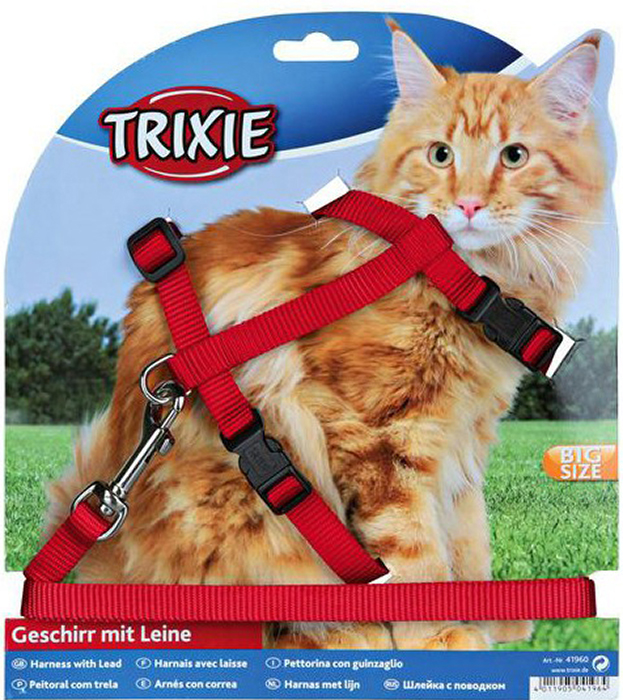 Шлейка с поводком Trixie, для крупных кошек, ширина 13 мм, обхват груди 34-57 см