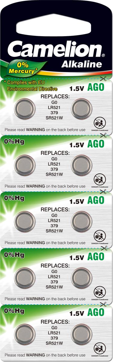 Батарейка Camelion, тип AG0, 379A, LR521, 10 шт. 1280812808Батарейка для капсульных микронаушников 10 мм. Camelion LR521, 379A, АG0 без оксида серебра