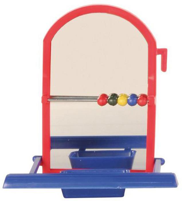 Игрушка для попугая Trixie Зеркало, с жердочкой, цвет: синий, красный, 10,5 х 10 см