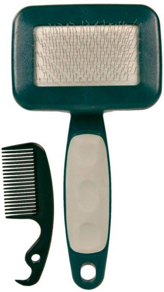 Набор Trixie: пуходерка, расческа, 13,5 х 7,1 см23461- для деликатного ухода за шерстью и подшёрстком,- пластик,- очень мягкая металлическая щетина,- со специальным устройством для очистки щётки,- пластиковая ручка с противоскользящим резиновым покрытиемЛинька под контролем! Статья OZON Гид