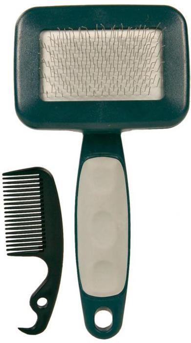 Набор Trixie: пуходерка, расческа, 13,5 х 10,1 см23462- для деликатного ухода за шерстью и подшёрстком,- пластик,- очень мягкая металлическая щетина,- со специальным устройством для очистки щётки,- пластиковая ручка с противоскользящим резиновым покрытиемЛинька под контролем! Статья OZON Гид