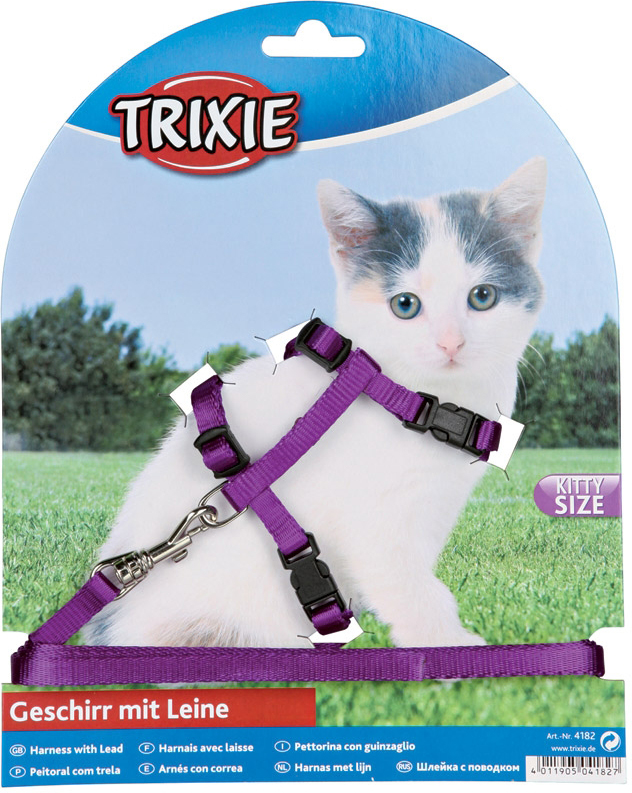 Шлейка для котят Trixie4182- для мелких кошек и котят, - искусственная кожа/плюш, - с фосфоресцентным покрытием, - плавно регулируются, - с удобными пластиковыми застёжками и металлическим карабином, - цвета в ассортименте