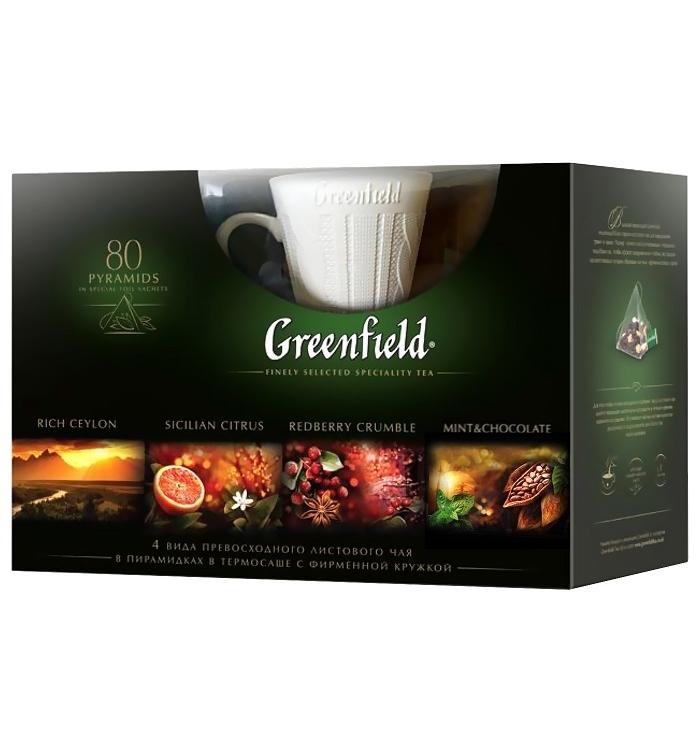 Greenfield Подарочный набор чая в пирамидках с подарком, 4 вида по 148 г greenfield milky oolong чай улун в пирамидках 20 шт