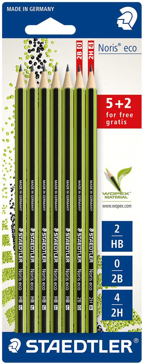 Staedtler Набор чернографитовых карандашей Noris Eco 7 шт18030SBK7PНабор чернографитовых карандашей Noris Eco включает 5 карандашей HB и 2 карандаша новой степени твердости - 2B и 2H. Noris Eco в зелено-черных полосках сделан из материала Wopex, инновационного композиционного материала от Staedtler из натуральных волокон. Так ценители надежного получают привычное качество вместе с хорошим чувством экологичного письма. Помимо высокой противоломкости обеспечивает отличное чувство письма и более длительный срок службы. Диаметр грифеля - 2 мм.