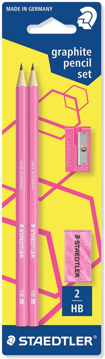 Staedtler Набор чернографитных карандашей Wopex 2 шт с ластиком и точилкой цвет розовый180FSBK2P1Набор чернографитовых карандашей серии Wopex Неон в картонной упаковке с подвесом. Содержит: 2 карандаша 180 серии, 1 ластик + 1 точилка. Все в неоновом розовом цвете. Высококачественный чернографитовый карандаш, изготовленный из инновационного материала Wopex. Яркие цвета. Уникальный процесс письма. Мягкая бархатистая поверхность и гладкое скольжение. Превосходная устойчивость к поломке. Степень твердости HB (твердо-мягкий). Диаметр грифеля - 2 мм.