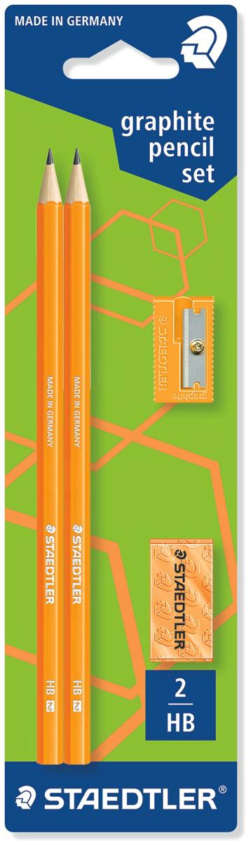 Staedtler Набор чернографитных карандашей Wopex 2 шт с ластиком и точилкой цвет оранжевый staedtler точилка бочонок 2 гнезда цвет голубой