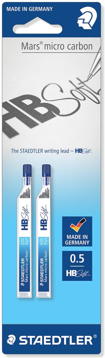 Staedtler Грифель для карандаша HB soft 0,5 мм 2 упаковки по 12 шт25005BBBK2Набор грифелей Mars micro carbon для механических карандашей, 2 упаковки по 12 грифелей в блистерной упаковке. Степень твердости - HB soft, мягкая; толщина линии - 0,5 мм. Идеальны для работы на бумаге и картоне. Высокая устойчивость к поломке. Гладкая поверхность для легкого скольжения, насыщенный черный цвет линий. При производстве используются 90% натуральных материалов без использования ПВХ и умягчителей. Подходят для заправки всех механических карандашей. Универсальная подача грифеля, быстрое наполнение механических карандашей сразу 12 грифелями - система 12-a-go.