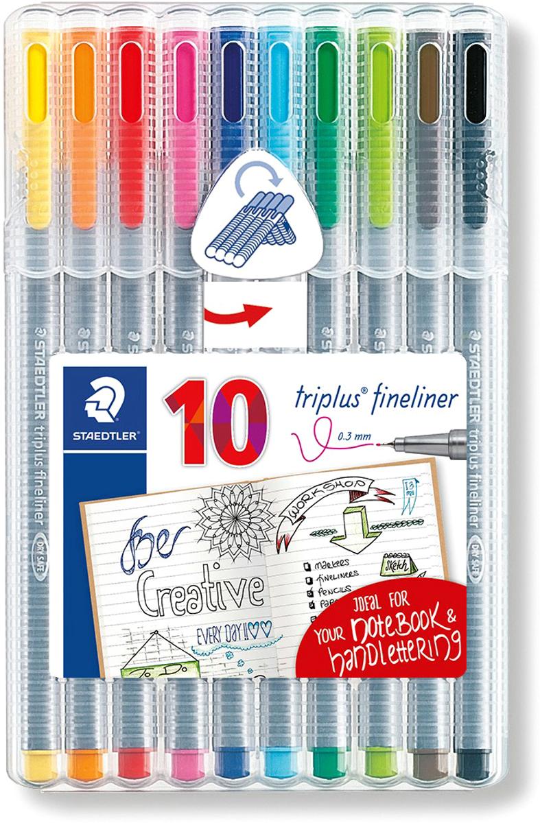 Staedtler Набор капиллярных ручек Triplus 10 цветов334SB10ACНабор трехгранных капиллярных ручек Triplus в пластиковой коробке-подставке содержит 10 ярких цветов. Оригинальный дизайн упаковки в стиле Bullet journal. Эргономичная форма для удобного и легкого письма. Пишущий узел завальцован в металл. Защита от высыхания - может быть оставлен без колпачка на несколько дней (тест ISO). Чернила на водной основе. Отстирывается с большинства тканей. Корпус из полипропилена гарантирует долгий срок службы. Толщина линии примерно 0,3 мм.