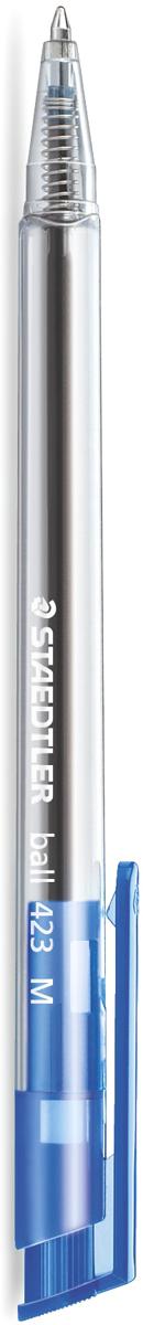 Staedtler Ручка Staedtler Ball синяя423M-3Шариковая ручка ball 423 с клипом. Цвет синий. Эргономичная трехгранная форма для удобного и легкого письма. Кнопка-клип соответствует цвету чернил. Несмываемые чернила. Безопасно использовать в самолете - автоматическое выравнивание давления предотвращает утечку чернил на борту самолета. Толщина линии M - 0,5 мм.