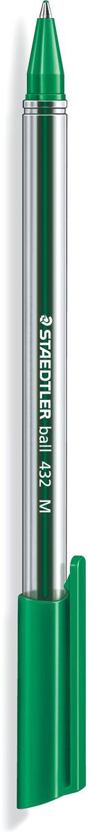 Staedtler Ручка шарикова Ball зеленая432M-5Трехгранная шариковая ручка серии ball 432. Цвет зеленый. Эргономичная трехгранная форма для удобного и легкого письма. Очень гладкое письмо. Прозрачный корпус. Колпачок, пишущий узел и торцевая часть соответствует цвету чернил. Несмываемые чернила. Безопасно использовать в самолете - автоматическое выравнивание давления предотвращает вытекание чернил на борту самолета. Толщина линии M - 0,5 мм.