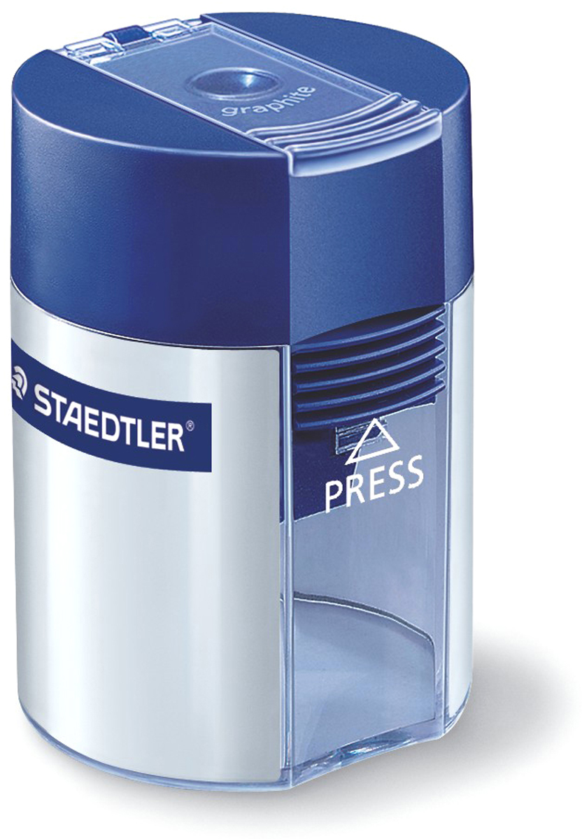 Staedtler Точилка цвет серебристый51100102Пластиковая точилка-бочонок с контейнером 511 серии. Цвет корпуса в дизайне Staedtler - серебро с синей крышкой. Предназначена для стандартных чернографитовых карандашей диаметром до 8 мм с углом заточки 23° для четких и аккуратных линий. Металлическая затачивающая часть. Закрытая конструкция предотвращает высыпание мусора во время заточки. Безопасный крепеж крышки.