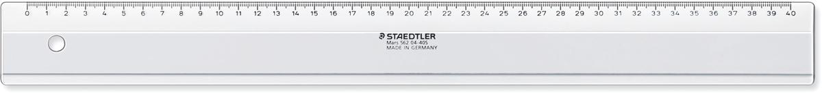 Staedtler Линейка цвет прозрачный 40 см56204-40SПластиковая линейка 562 04F сделана из материала Plexiglas прозрачного цвета. Длина - 40 см. Скошенные края предотвращают смазывание и растекание чернил.