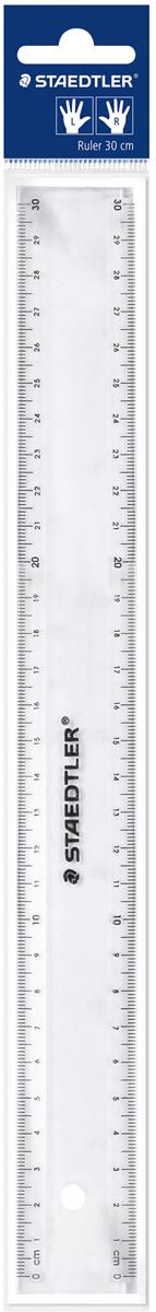Staedtler Линейка цвет прозрачный 30 см562300PBЛинейка прозрачная со специальной шкалой для левшей и правшей выполнена из пластика.